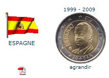 piece 2€ espagne 1999 2009