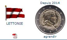 Pièce nationale Lettonie 2 €