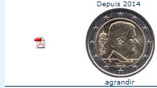 piece belgique 2€ depuis 2014