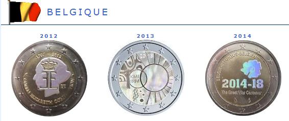 Hologramme de la pièce de 2 euros Belgique
