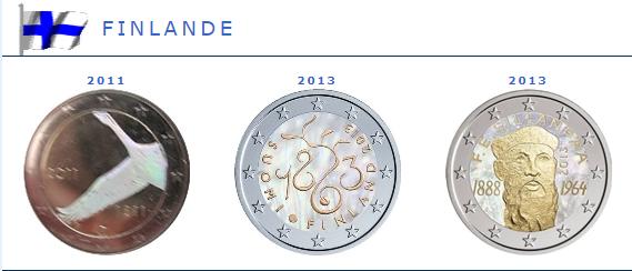 Hologramme de la pièce de 2 euros Finlande