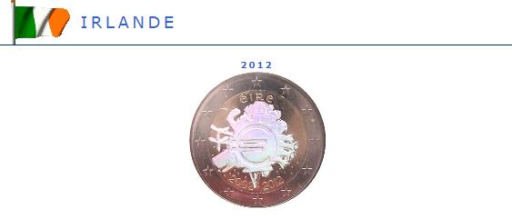 Hologramme de la pièce de 2 euros Irlande
