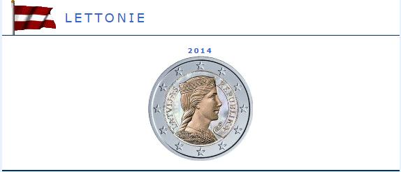 Hologramme de la pièce de 2 euros Lettonie