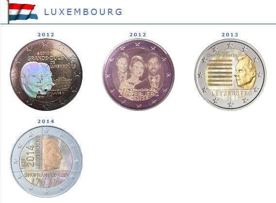 Hologramme de la pièce de 2 euros Luxembourg
