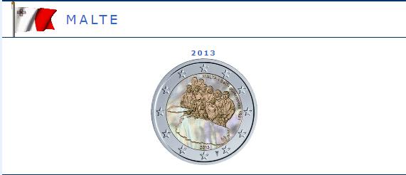 Hologramme de la pièce de 2 euros Malte