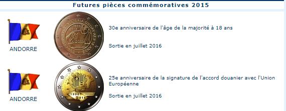 Pièces commémoratives 2015