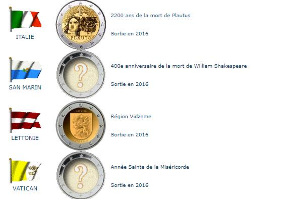 Pièces commémoratives 2016